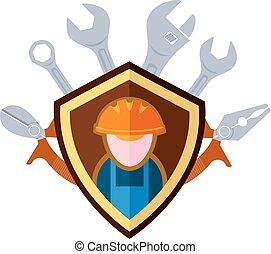 Builder emblem - Flat emblem of the builder and working...