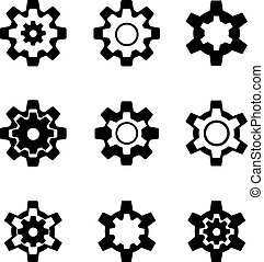cogwheel - Abstract set of black cogwheel symbols