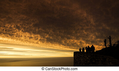 Cape Town sunset - Panoramic sunset view from Table Mountain...
