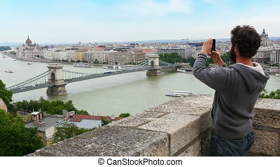 """single man enjoy with budapest river view, hungary, 4k"""