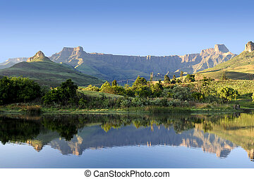 Drakensberg relfection - Mountain range found in South...