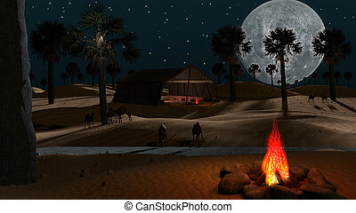 Night scene at the desert
