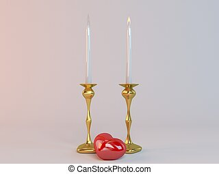 One side love where one candle flame is active and the other...