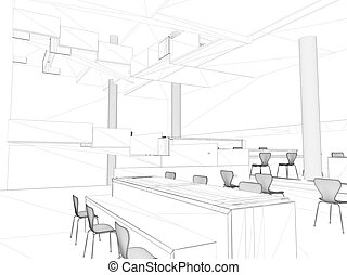 3d wireframes design - Perspective 3D render of an interior...