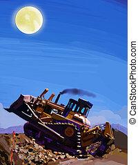 Night Push - A bulldozer in early morning