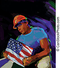 Building America - A construction worker holding the...