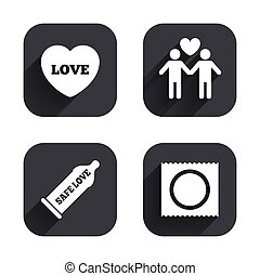 Condom safe sex icons. Lovers Gay couple sign. - Condom safe...