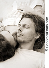 Lie with me - Couple in love take an afternoon nap together
