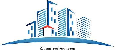 Modern buildings logo - Modern buildings skyscrapers blue...