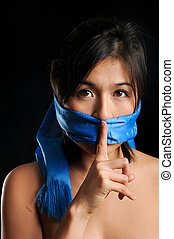 Shhh she says - Girl gagged with blue scarf keeps quiet