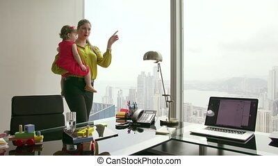 8 Mother Business Woman Working And Playing With Child -...