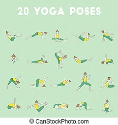 Twenty yoga poses - Set of twenty yoga poses Collection of...