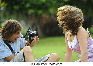 Whiplash - Gorgeous couple take pictures in the park