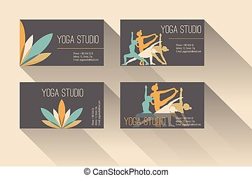 Yoga business card - Set of business card for yoga studio or...