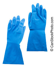 blue rubber gloves isolated on white background