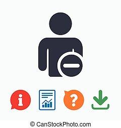 Delete user sign icon Remove friend symbol Information think...