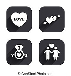 Valentine day icons. I love you ring sign.