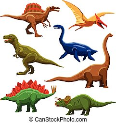 Dinosaurs Color Icons Iet - Dinosaurs color icons set in...