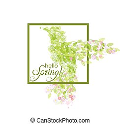 Flying beautiful bird with flowers and green leaves -...