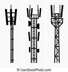 Telecommunications towers - Set of three telecommunications...