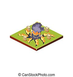 Meteorite Natural Disaster Icon Vector Illustration -...