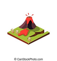 Volcano Eruption and Lava. Natural Disaster Icon. Vector...