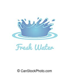 Fresh Water Splash. Vector Illustration Set
