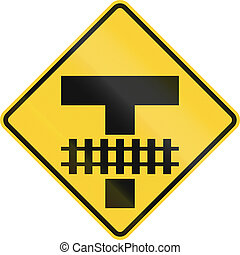 United States MUTCD road sign - Intersection and tracks