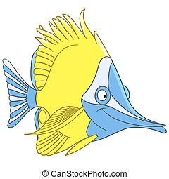 cute cartoon butterfly fish - cute and happy cartoon...