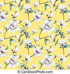 Watercolor raster magnolia pattern - Beautiful raster...