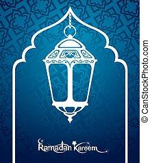 Ramadan Kareem Pattern Window - Arabic Islamic card of...