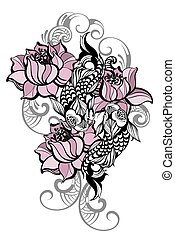 Spiritual fish art for tattoo - Hand drawn romantic...