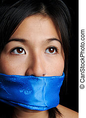 I have no say - Girl gagged with blue scarf looks for...