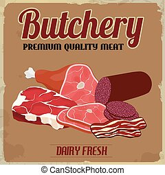 Butchery retro poster - Butchery poster in vintage style on...