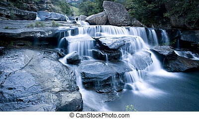 Drakensberg waterfall - Cascading waterfall with motion...