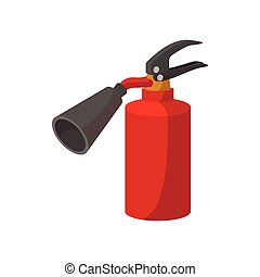 Fire extinguisher cartoon icon on white background