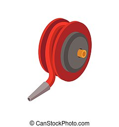 Red fire hose winder roll reels cartoon icon on white...