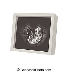 Ultrasound fetus cartoon icon on a white background