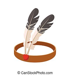 American Indian headdress cartoon icon on a white background