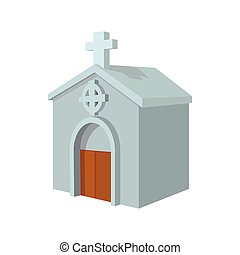 Crypt in cemetery cartoon icon on a white background