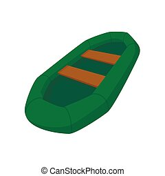 Green inflatable boat with oars cartoon icon on a white...