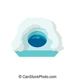 Hole for ice fishing cartoon icon on a white background