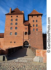 Castle in Malbork in Poland on a blue sky