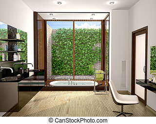 3d illustration of modern bathroom with a large panoramic window