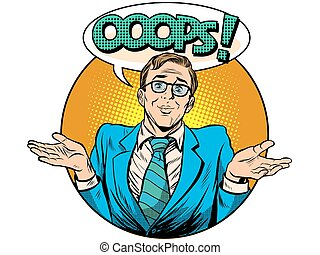 Oops surprised businessman pop art retro style. Business...