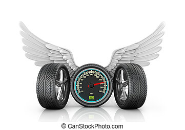 Automotive wheel with speedometer and wings on a white...