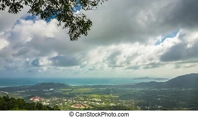 Beautiful view of the sea and mountains in clouds.