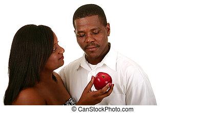 Véspera, oferecendo, maçã, Para,...