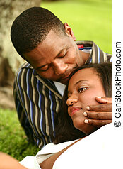 African American Couple Romantic Outdoor - african american...
