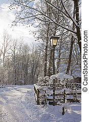 Romantic snow path in the wood - Bavarian countryside,...